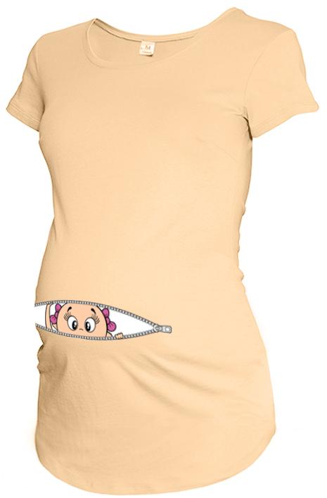 7c729341a9 Kislány kukucskálós kismama póló barack színben - Vicces kismama ...